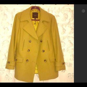 Talbots 14P Woman's Pea Coat—Mustard Yellow